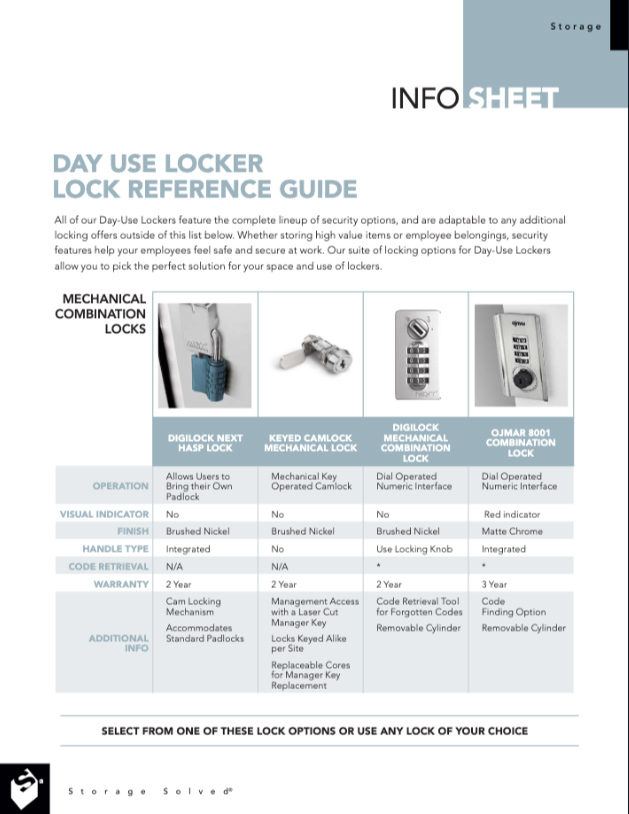 Download Day Use Locker Lock Reference Guide Info Sheet