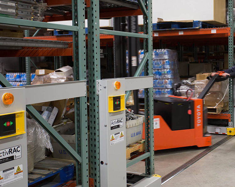military warehouse mobile shelving system