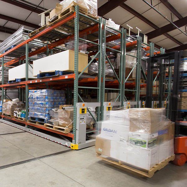 military warehouse pallet storage system