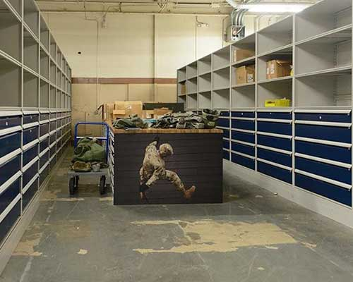 military counter height storage work tables