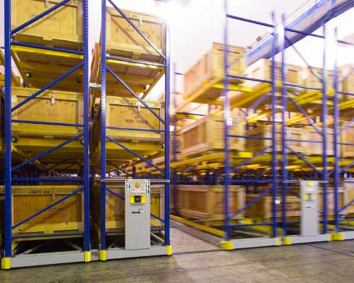 military warehouse mobile racking storage system