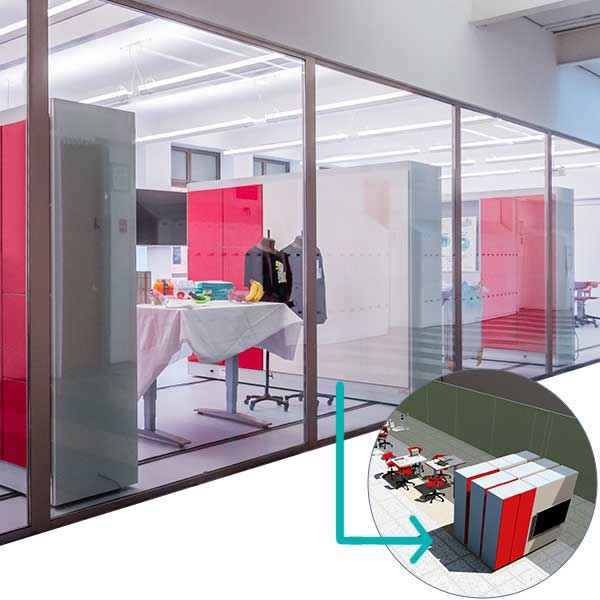 moveable storage walls flexible university space
