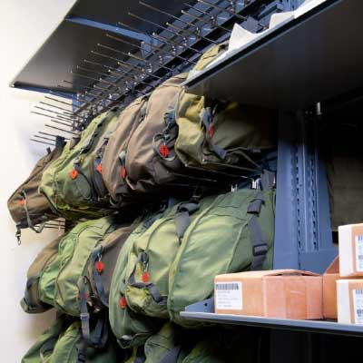shelving solutions military gear storage