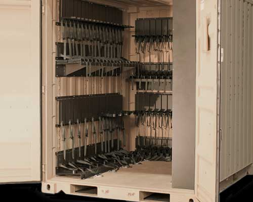 weapon secure shipping container storage