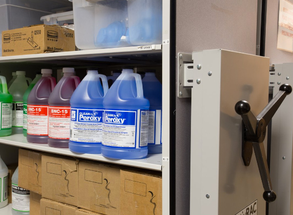 campus warehouse cleaning supply storage