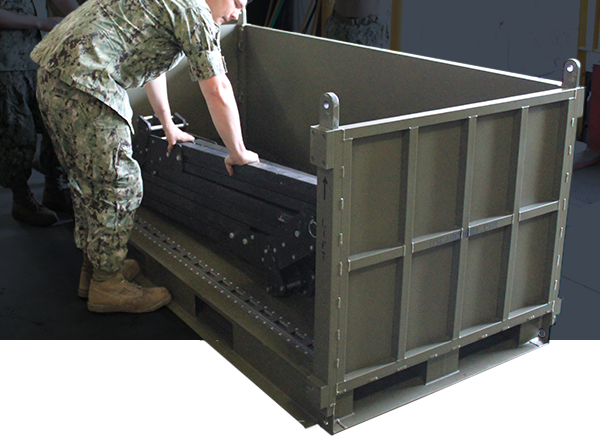 deployable metal transport container