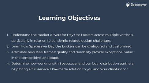 product presentation learning objectives