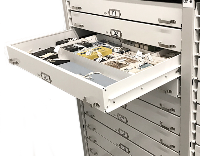 high-density museum mobile shelving tray drawers