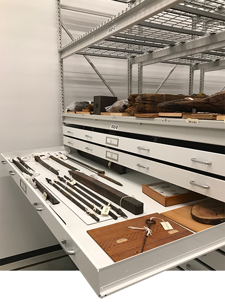 museum pull out ray metal shelving system