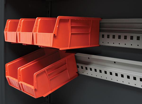 steel shelving bin hanging storage