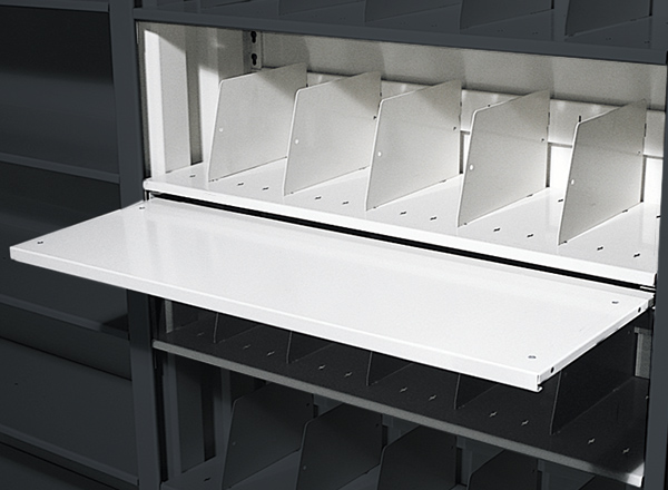 steel shelving pull out shelve