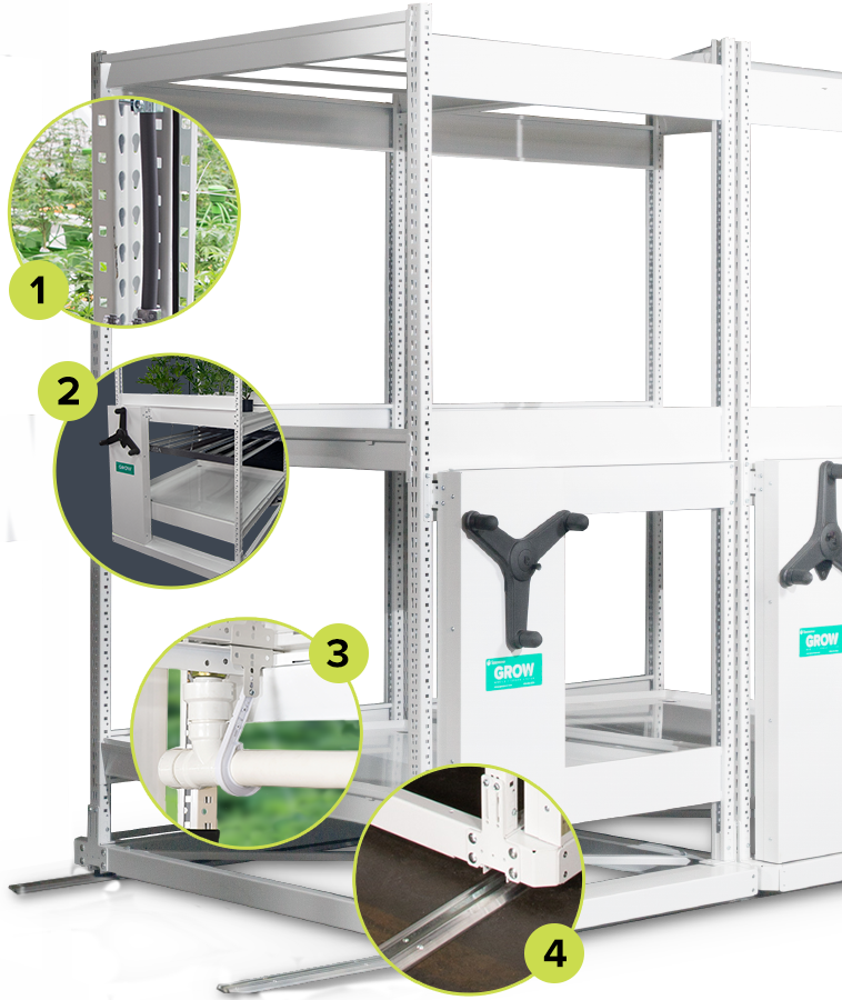 vertical indoor racking cannabis grow systems