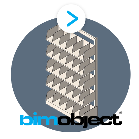 bim ovject cantilever shelving with dividers