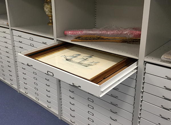 local history collection shelving systems with trays