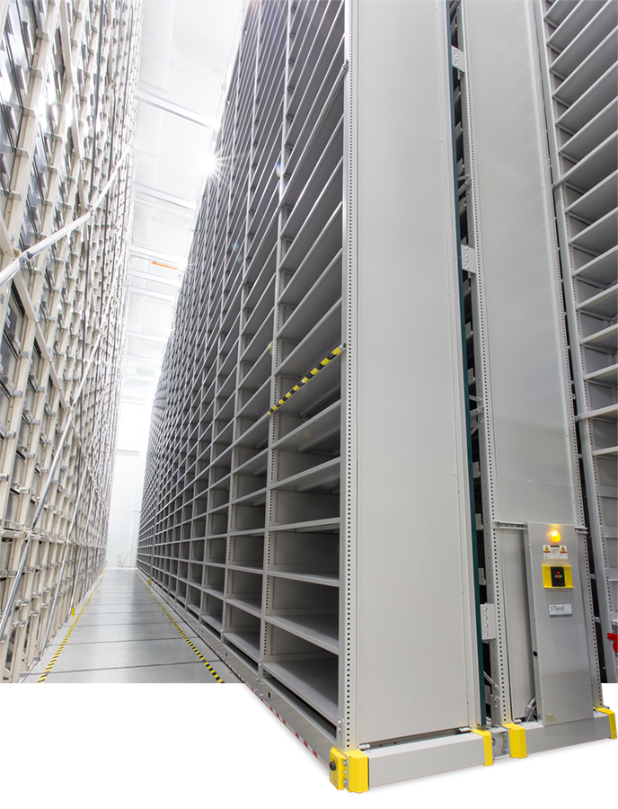 spacesaver high-bay steel shelving system