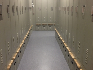 Custom lockers with retractable bench seating