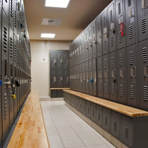 Two-tier storage lockers at Sunrise Police Department