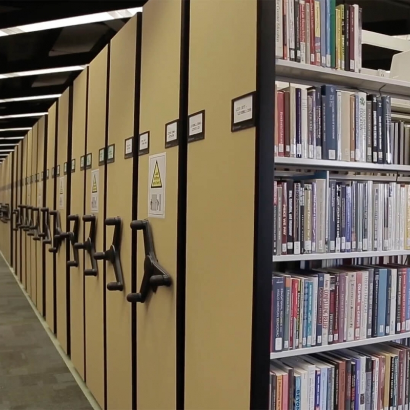 Mechanical Assist mobile library books storage at Gettysburg College