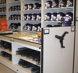 Football Helmet Storage and Facemask Storage on Mobile Shelving at TCU
