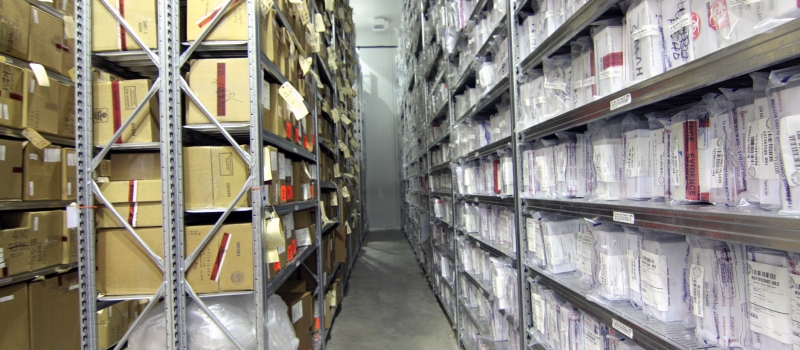 Static shelving of long term evidence storage in freezer