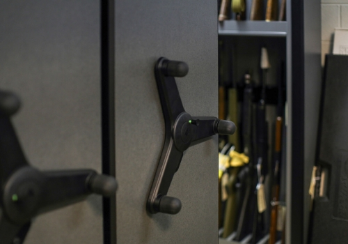 Weapon evidence storage on mechanical assist mobile shelving at Bensalem Police Department