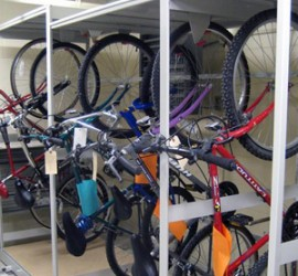 Bike Storage on Mobile Shelving at Tinley Police Department