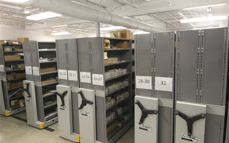 Compact auto parts storage on an ActivRAC racking system in Columbus, OH.