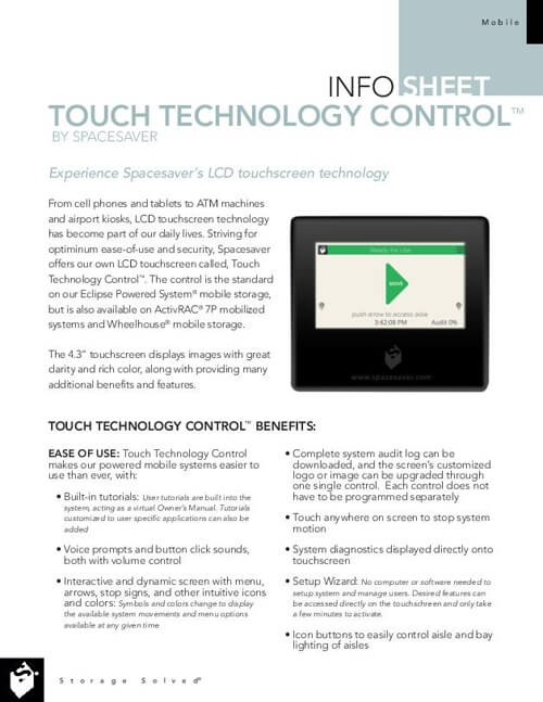 View Touch Technology Control Info Sheet
