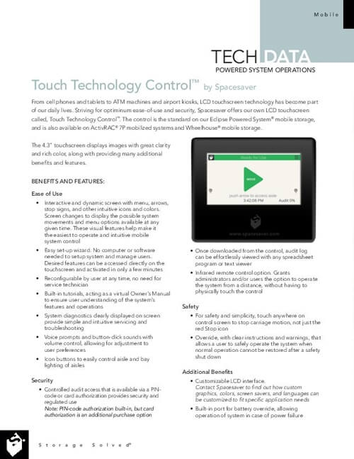 View Touch Technology Control Tech Data