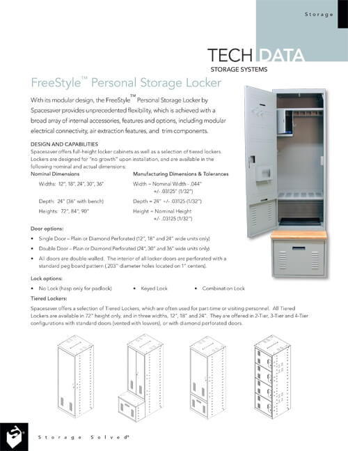 TECH DATA: FREESTYLE PERSONAL STORAGE LOCKERS