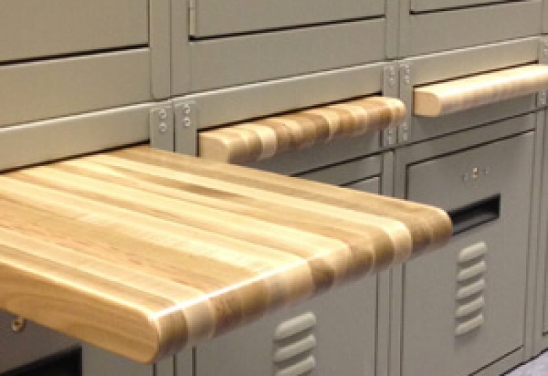 Retractable Breadboard Bench built into FreeStyle Personal Storage Lockers